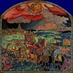 Nikolai Konstantinovich Roerich (1874-1947)  Conquest of Kazan. Variant  Oil tempera on panel, 1914  78 x 73 cm  Yerevan State Picture Gallery, Armenia
